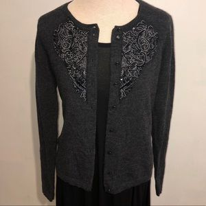 Cynthia Rowley Embellished Wool Cardigan